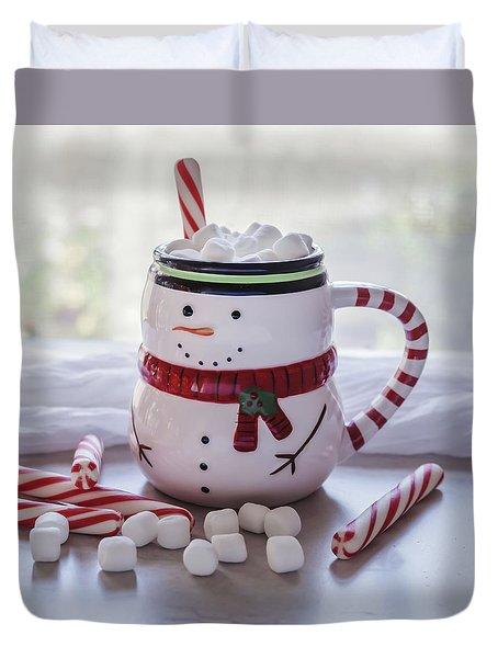 Duvet Cover featuring the photograph Frosty Christmas Mug by Kim Hojnacki