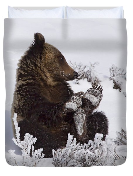 Frosty Feet-signed Duvet Cover by J L Woody Wooden