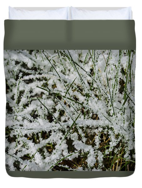 Duvet Cover featuring the photograph Frosty Grass by Deborah Smolinske