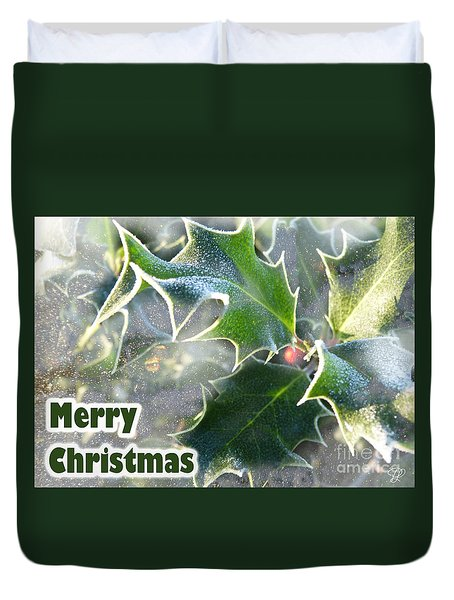 Duvet Cover featuring the photograph Frosty Holly by LemonArt Photography
