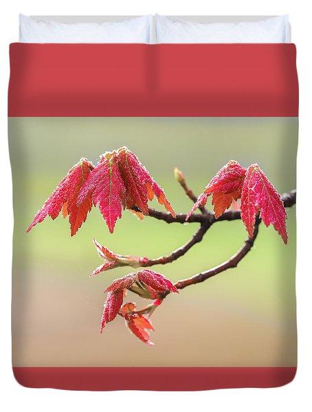 Frosty Maple Leaves Duvet Cover