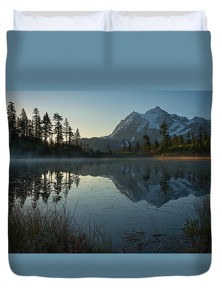 Duvet Cover featuring the photograph Frosty Picture Lake by Dan Mihai
