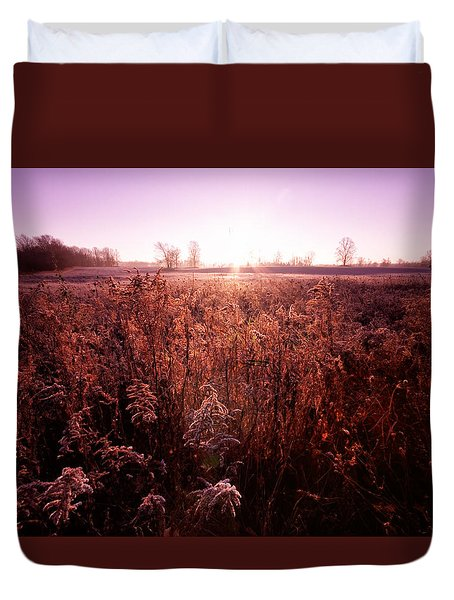 Duvet Cover featuring the photograph Frosty Sunrise by Lars Lentz