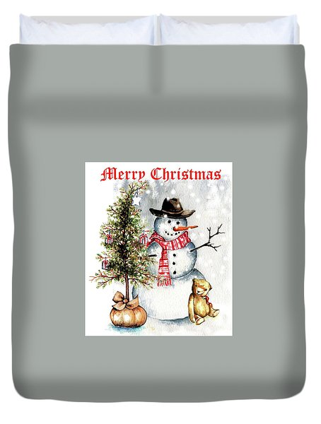 Frosty The Snowman Greeting Card Duvet Cover