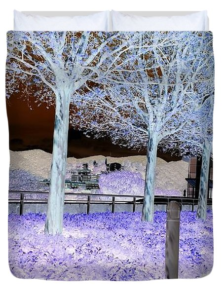 Frosty Trees At The Getty Duvet Cover