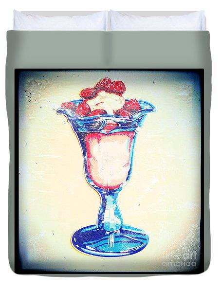 Frosty Vintage Strawberry Parfait Duvet Cover
