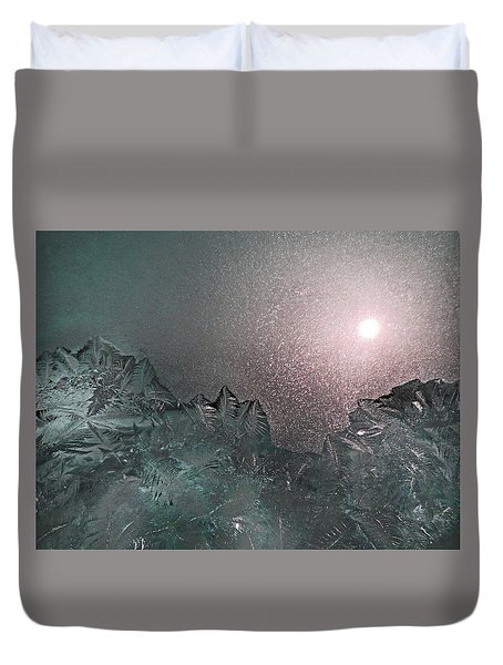 Frosty Window Landscape Duvet Cover