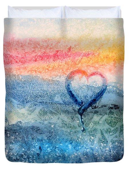 Frosty Window Sunset Love Duvet Cover