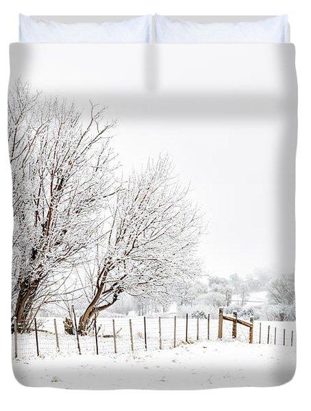 Frosty Winter Scene Duvet Cover