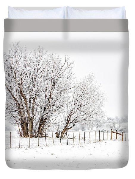 Frosty Winter Scene Duvet Cover