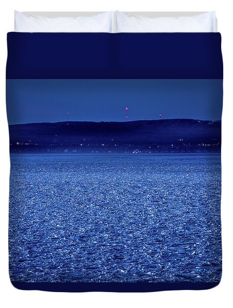Duvet Cover featuring the photograph Frozen Bay At Night by Onyonet  Photo Studios