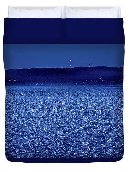 Frozen Bay At Night Duvet Cover by Onyonet  Photo Studios