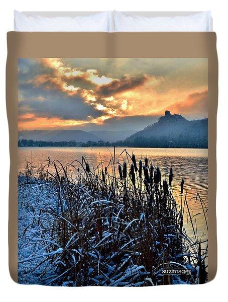 Frozen Cattails Duvet Cover