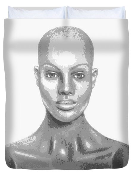 Bald Superficial Woman Mannequin Art Drawing  Duvet Cover