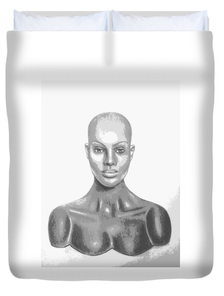 Superficial Bald Woman Art Charcoal Drawing  Duvet Cover