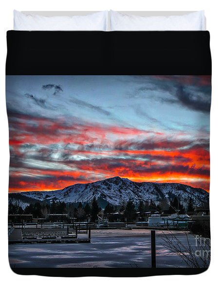 Duvet Cover featuring the photograph Frozen Fire by Mitch Shindelbower