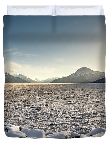 Frozen Fjord Sunrise Duvet Cover