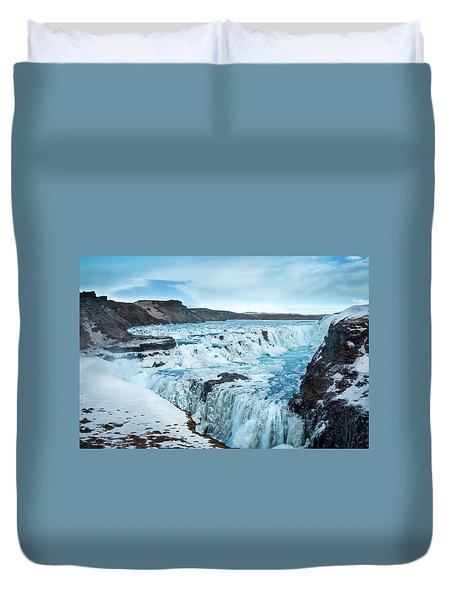 Frozen Gullfoss Duvet Cover