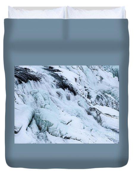 Frozen Gullfoss In Winter Duvet Cover
