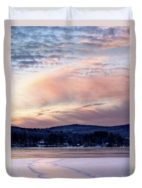 Frozen Lake Sunset In Wilton Maine  -78096-78097 Duvet Cover