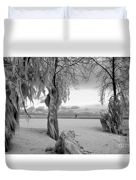 Duvet Cover featuring the photograph Frozen Landscape Of The Menominee North Pier Lighthouse by Mark J Seefeldt