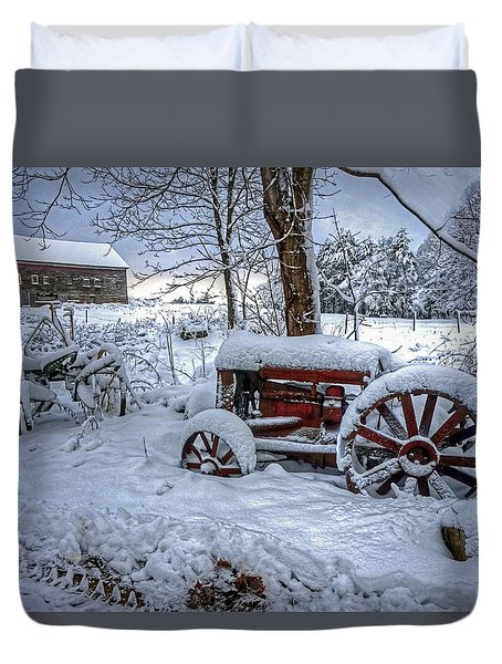 Duvet Cover featuring the photograph Frozen Relics by Wayne Marshall Chase