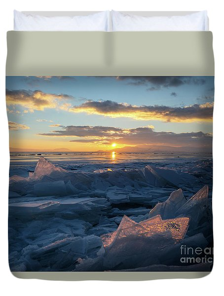 Frozen Sevan Lake And Icicles At Sunset, Armenia Duvet Cover by Gurgen Bakhshetsyan