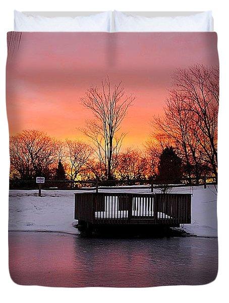 Frozen Sunrise Duvet Cover by Frozen in Time Fine Art Photography
