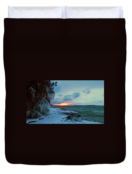 Frozen Sunset In Cape Vincent Duvet Cover