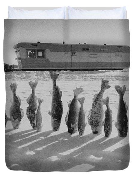 Frozen Walleye Pike Fish, Stizostedion Duvet Cover