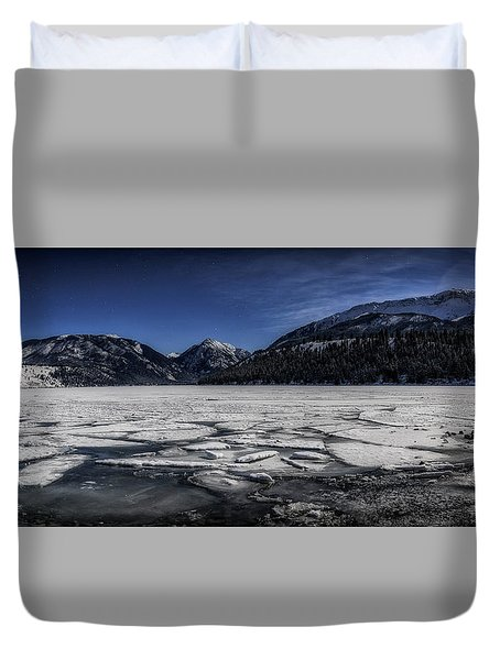 Duvet Cover featuring the photograph Frozen Wallowa Lake by Cat Connor