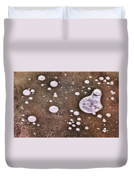 Duvet Cover featuring the photograph Frozen Water Drops Abstract by Gary Slawsky