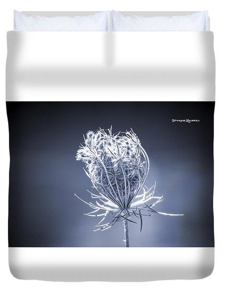 Duvet Cover featuring the photograph Frozen Wildflower by Stwayne Keubrick