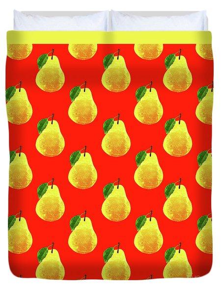Fruit 03_pear_pattern Duvet Cover by Bobbi Freelance