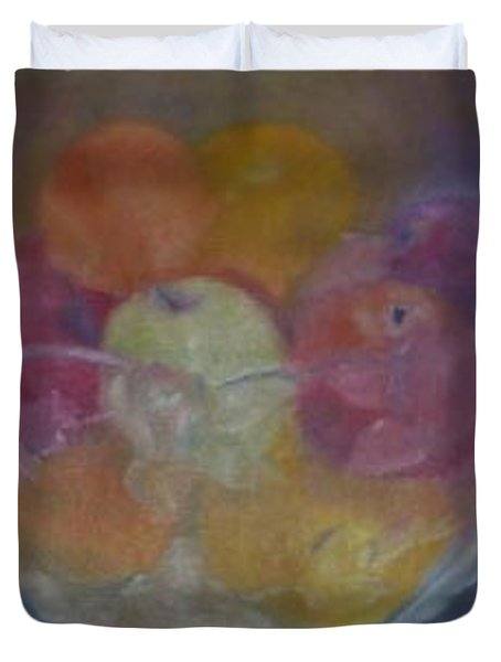 Fruit In Glass Bowl Duvet Cover by Sheila Mashaw