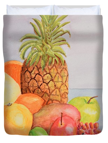 Fruit On Table Duvet Cover