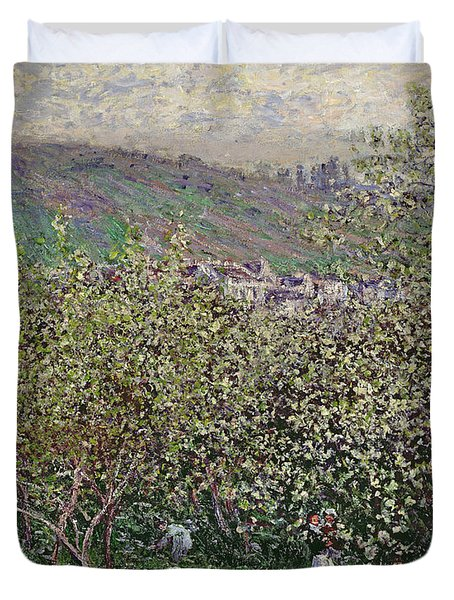 Fruit Pickers Duvet Cover by Claude Monet