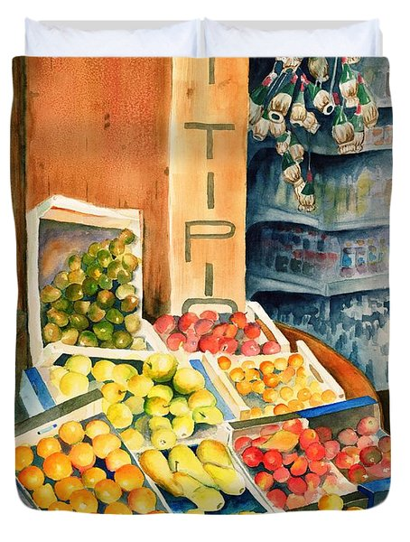 Fruit Shop In San Gimignano Duvet Cover by Judy Swerlick