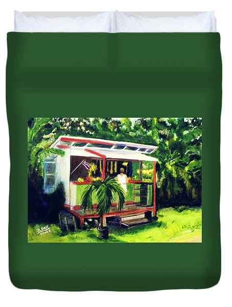 Fruit Stand North Shore Oahu Hawaii #163 Duvet Cover by Donald k Hall