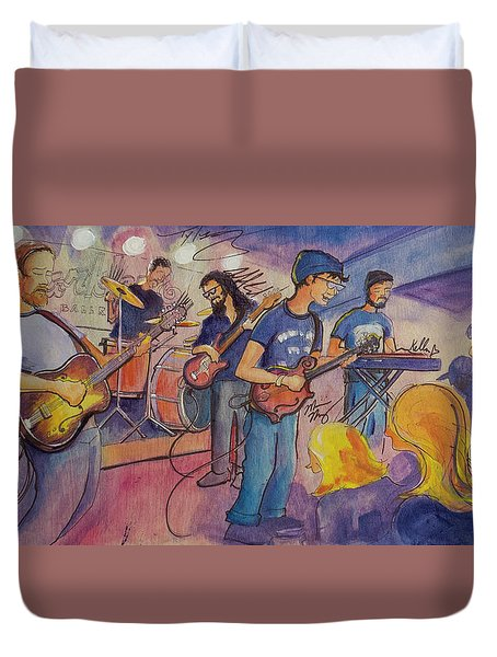 Duvet Cover featuring the painting Fruition At The Barkley Ballroom by David Sockrider