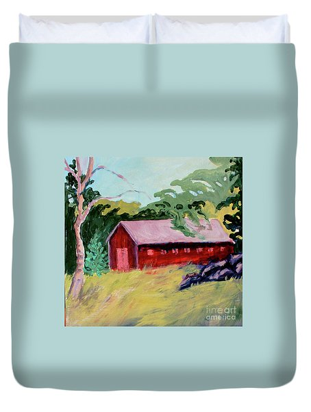 Duvet Cover featuring the painting Fruitlands Iv by Priti Lathia