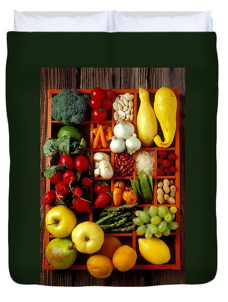 Fruits And Vegetables In Compartments Duvet Cover