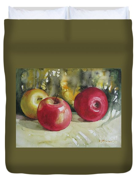 Duvet Cover featuring the painting Fruits Of The Earth by Elena Oleniuc