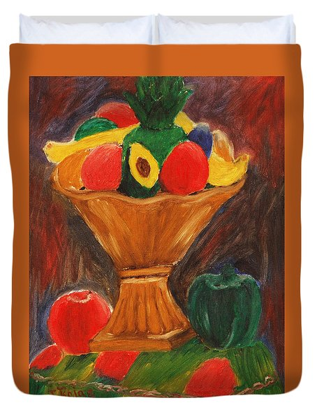 Duvet Cover featuring the painting Fruits Still Life by Jose Rojas
