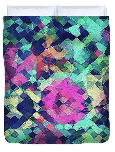 Fruity Rose   Fancy Colorful Abstraction Pattern Design  Green Pink Blue  Duvet Cover