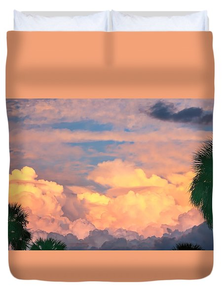 Ft De Soto Sunset Clouds Duvet Cover