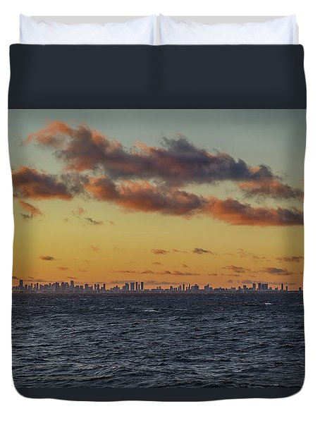 Duvet Cover featuring the digital art Miami Sunset by John Haldane