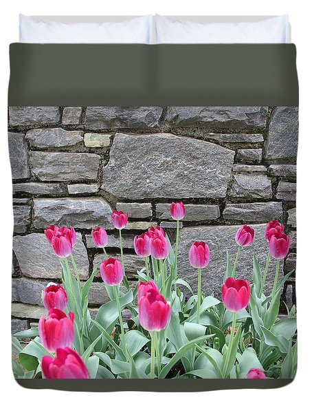 Fuchsia Color Tulips Duvet Cover