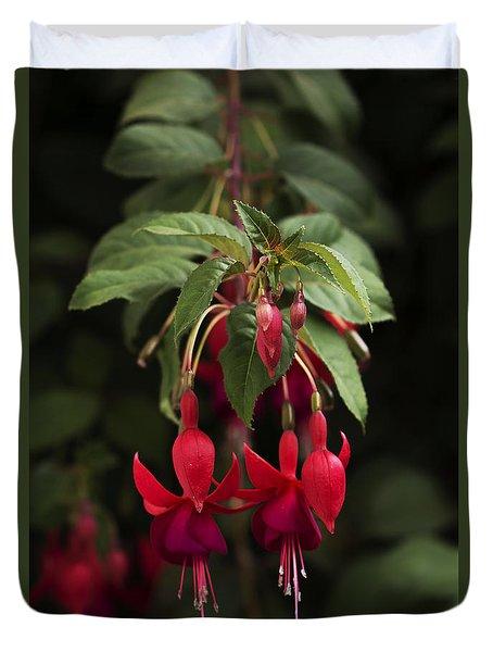 Fuchsia Twins Duvet Cover by Ramabhadran Thirupattur