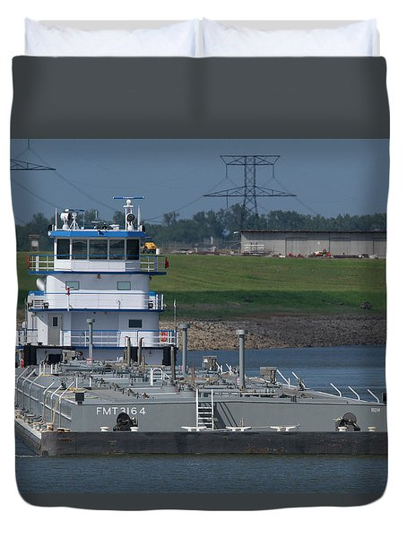 Fuel Barge On The Mississippi R Duvet Cover